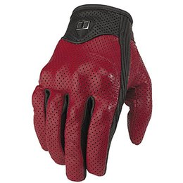 Red Icon Pursuit Leather Motorcycle Gloves