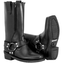 River Road Womens Zipper Harness Leather Boots Black