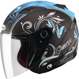 GMAX Womens OF-77 Butterflies DOT Approved Open Face Helmet Black