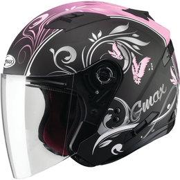 GMAX Womens OF-77 Butterflies DOT Approved Open Face Helmet Black