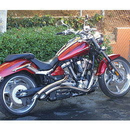 Chrome La Choppers Curved Exhaust System Slash For Yamaha Raider