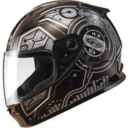 Black, Silver Gmax Boys Gm49y Dj Full Face Helmet 2013 Black Silver