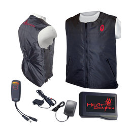 Heat Demons Mens Heated Riding Vest With Battery Pack/Controller Kit/Charger LS Black