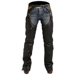 Black Pokerun Womens Marilyn 2.0 Leather Chaps