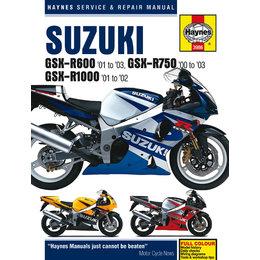 Haynes Manual For Suzuki 01-03 GSX-R600 00-03 GSX-R750 01-02 GSX-R1000 M3986 Unpainted