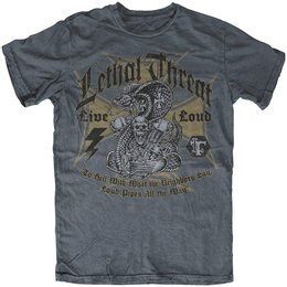 Lethal Threat Mens Live Loud T-Shirt 2014 Grey