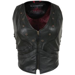 Black Pokerun Womens Vixen Leather Vest