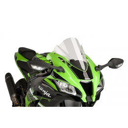 Puig Racing Windscreen Double Height Acrylic 2mm Clear For Kawasaki ZX-10R 2016 Transparent