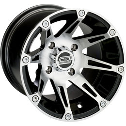 Moose Racing 387X UTV Front Wheel 14x7 4/156 4+3 Polaris Black Silver 0230-0455 Black