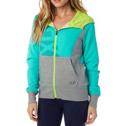 Fox Racing Womens Deduction Mid Weight Fleece Zip Motocross Hoody Sweatshirt Blue