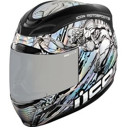 Icon Airmada Mechanica Full Face Helmet Silver