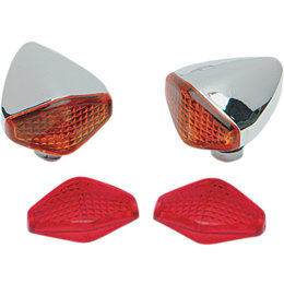 Drag Specialties Diamond Marker Lights Pair Universal Chrome Amber Red DS-280005