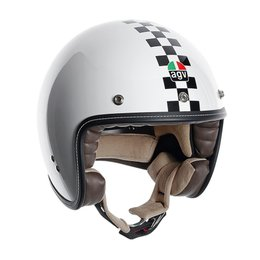 AGV RP 60 Checker Flag Open Face Helmet White