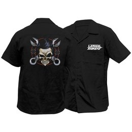 Lethal Threat Mens Wrench Skull Garage Work Shirt 2014 Black