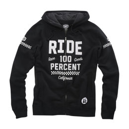 100% Mens Flattrack Cotton Blend Zip-Up Hoody Black