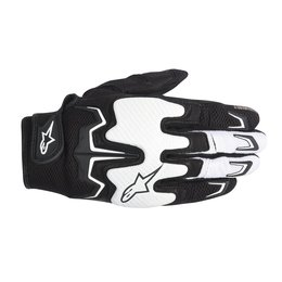 Black, White Alpinestars Mens Fighter Air Leather Textile Gloves 2014 Black White