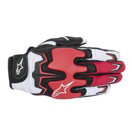 White, Red, Black Alpinestars Mens Fighter Air Leather Textile Gloves 2014 White Red Black