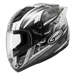 Dark Silver, Black Gmax Gm69 Crusader Ii Full Face Helmet Dark Silver Black