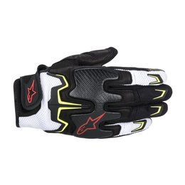 Black, White, Yellow, Red Alpinestars Mens Fighter Air Textile Gloves 2014 Black White Yellow Red