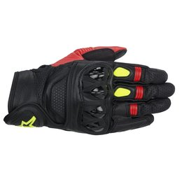 Black, Red, Fluorescent Yellow Alpinestars Mens Celer Leather Gloves 2014 Black Red Fluorescent Yellow