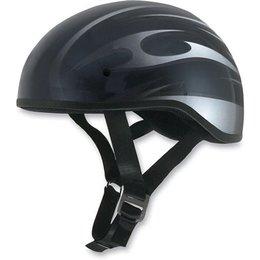 Black, Silver Afx Mens Fx-200 Fx200 Slick Flame Naked Half Helmet Black Silver