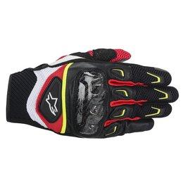 Black, White, Yellow, Red Alpinestars Mens Smx-2 Air Carbon Textile Gloves 2014 Black White Ylw Red