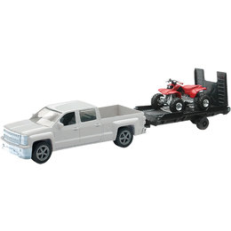 New Ray Toys Chevy Silverado Truck W/ Trailer & Honda ATV Toy 1:43 Scale 19535B
