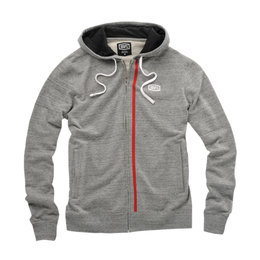 100% Mens Drew Cotton Blend Zip-Up Hoody Grey