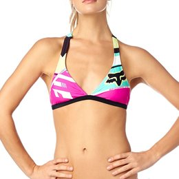 Fox Racing Womens Divizion Fixed Halter Bikini Top Pink
