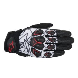 Black, White, Red Alpinestars Mens Masai Textile Gloves 2014 Black White Red