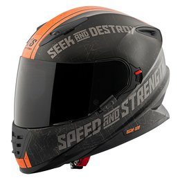 Matte Black, Orange Speed & Strength Ss1600 Cruise Missile Full Face Helmet Matte Black Orange
