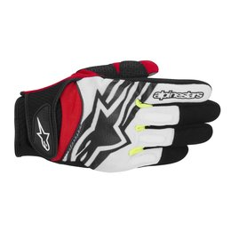 Black, White, Yellow, Red Alpinestars Mens Spartan Textile Gloves 2014 Black White Yellow Red