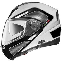 Metal White, Red, Silver Nolan Mens N104 Tech Modular Helmet 2014 Metal White Red Silver