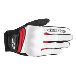 White, Black, Red Alpinestars Mens Spartan Textile Gloves 2014 White Black Red