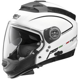 Metal White, Black Nolan Mens N44 Storm Crossover Helmet 2014 Metal White Black