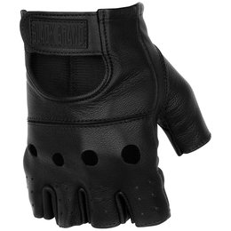 Black Brand Mens Bare Knuckle Shorty Fingerless Leather Gloves