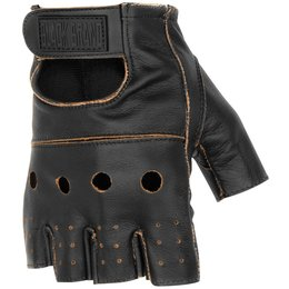 Black Brand Mens Vintage Knuckle Shorty Fingerless Leather Gloves