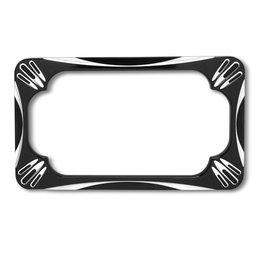 Black Arlen Ness License Plate Frame Deep Cut For Harley Davidson Victory
