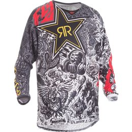 Fly Racing Mens Kinetic Mesh Rockstar MX Jersey Black