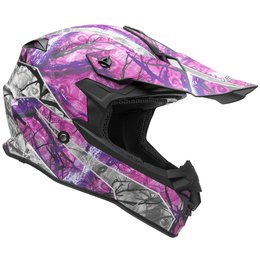 Vega Womens VF1 VF-1 Skull Camo MX Motocross Offroad Riding Helmet With Visor Pink