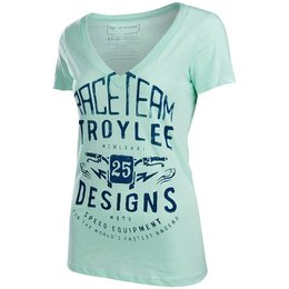 Troy Lee Designs Womens Winning Cotton V-Neck Graphic T-Shirt Green