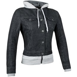 Speed & Strength Womens Fast Times Armored Textile Denim Hoody Jacket Black