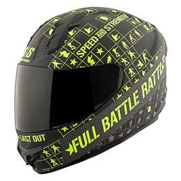 Black, Hi-vis Speed & Strength Ss1400 Full Battle Rattle Full Face Helmet Black Hi-vis