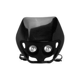 UFO Plastic Dual Lens Twin Headlight Assembly Black