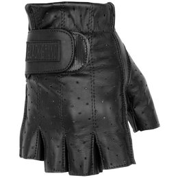 Black Brand Mens Classic Shorty Fingerless Perforated Leather Gloves