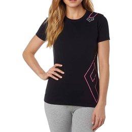 Fox Racing Womens Cornered Crew Neck Motocross Short Sleeve Poly-Cotton T-Shirt Black
