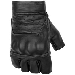 Black Brand Mens Brawler Shorty Fingerless Leather Gloves