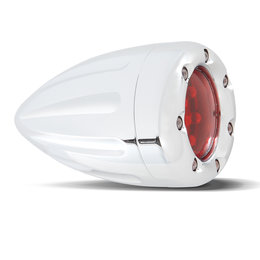 Chrome, Red Ring Led's, Red Lens Arlen Ness Turn Signal W Fire Ring Single Func Deep Cut Chrome Red Ring Red Lens