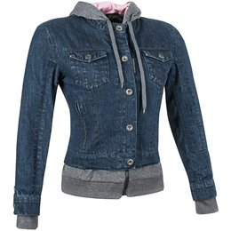 Speed & Strength Womens Fast Times Armored Textile Denim Hoody Jacket Blue