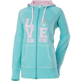 Divas Womens Love Snow Front Print Zip Hoody Green